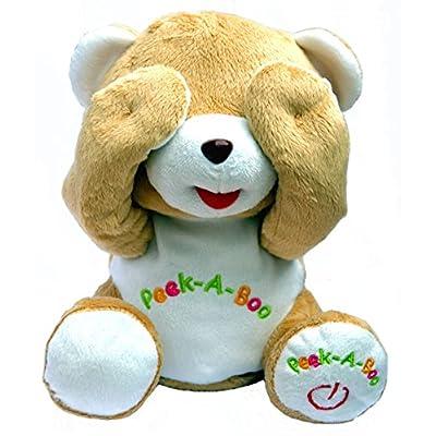 Bo-Toys Cute Peek-a-Boo Teddy Bear Animated Stuffed Plush Animal: Toys & Games
