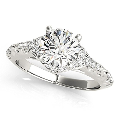 (Antique Halo Style Unique Moissanite Engagement Ring 0.70 Ctw.)