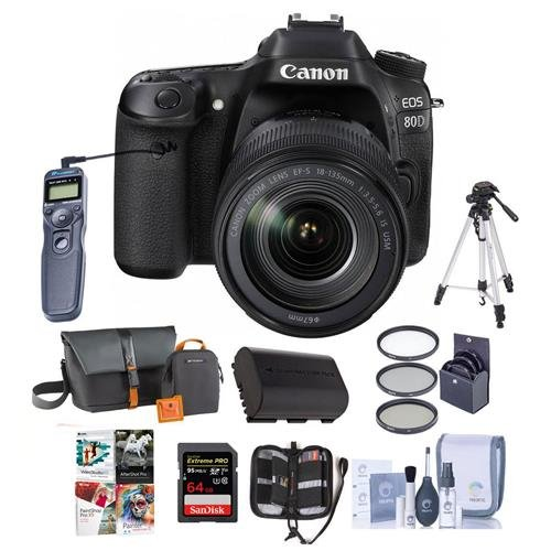 Canon EOS 80D DSLR Camera Body Kit with EF-S 18-135mm F3.5-5.6 IS USM Lens, Black - Bundle w/Camera Bag, 64GB SDHC Card, Spare Battery, Tripod, Remote Shutter, 58mm Filter Kit, Software Pack and More -  1263C006 B