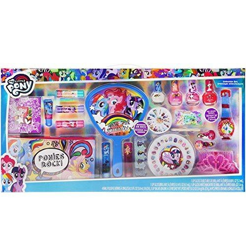 Townley Girl My Little Pony Mega Cosmetic Set with Lip Gloss, Nail Polish, Nail Gems, Hair Clips, Mirror and more (Polish Gloss Spa)