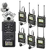Zoom H6 Six-Track Portable Handy Recorder Bundle with Saramonic UHF Wireless Quad Lavalier Microphone System