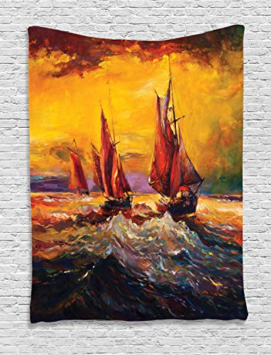 Ambesonne Country Decor Tapestry, Image of Old Sailboats Ships Cruising in Waves at Sunrise Time Dark Pastel Sky Art, Bedroom Living Room Dorm Decor, 40 W x 60 L Inches, Yellow Orange