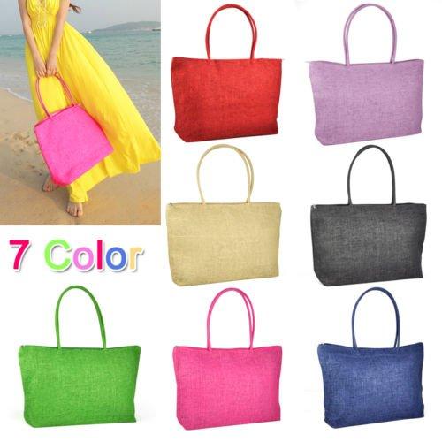 Gleader Donna borsa di paglia brosa Shopping Bag-In viaggio con zip borsa di spiaggia -- nero