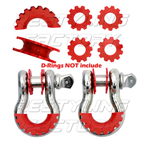 Restyling-Factory-RED-D-Ring-Shackle-Isolator-Washers-6pcs-Set-Gear-Design-Rattling-Protection-Cover