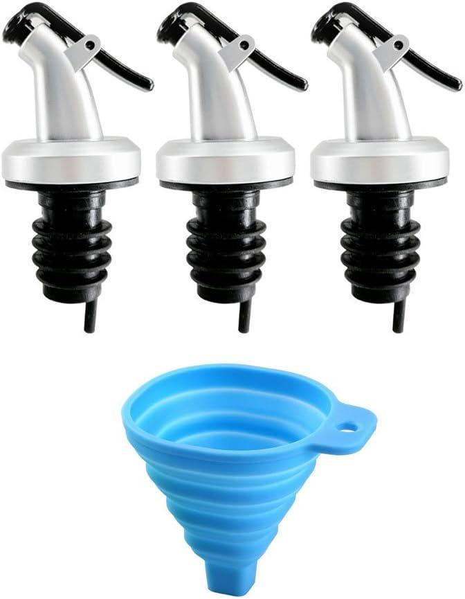 3Pcs leakproof cap Rani Chef Pourer BPA Free Specially Designed for Oil Vinegar Wine or Salad Dressings Dispenser Bottles+1Pc Folding funnel