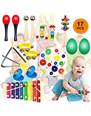 DIY House Musical Percussion Instrument Set 17 PCS Baby Music Band Education Percussion Toys for Toddlers Kids Preschool Children with Kids Zipper Handbag
