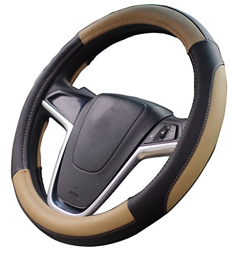 Leather Mercedes Benz Steering Wheel Cover (Mayco Bell Car Steering Wheel Cover 15 inch No Smell Comfort Durability Safety (Black Beige))