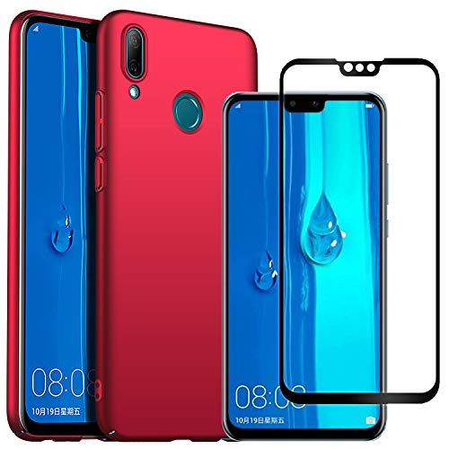 Mylb-us Compatible with Huawei Y9 2019 Screen Protector and Case, [2 Pack] [Ultra] Stylish Anti-Fingerprint PC Hard Case for Huawei Y9 2019 Smartphone (Red)