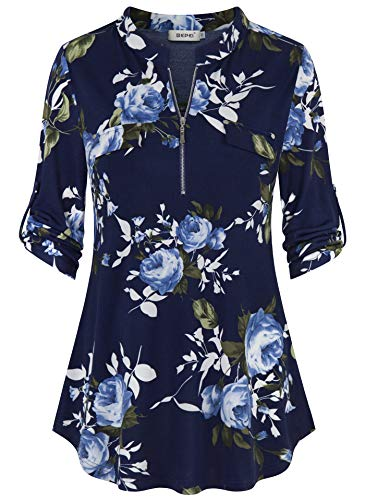 (BEPEI Tunics for Women to Wear with Leggings,Ladies 3/4 Roll up Sleeve Zipper V Neck Chiffon Shirts Career Blouses Floral Printed Pattern Flowy Hem Tunic Tops Mock Pocket Design Blouses Navy Blue M)