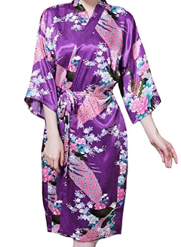 Tootless-Women Relaxed Floral Print Peacock & Blossoms Wrap Robe Purple (136 Peacock)