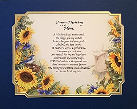 gift for mother happy birthday mom sentimental poem on sunflower floral background
