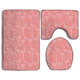 Bath mat,3 Piece Bathroom Rug Set,Leisure Flamingo Flannel Non Slip Toilet Seat Cover Set,Large Contour Mat,Lid Cover For Men/Women