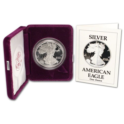 er Eagle Proof $1 OGP US Mint (1990 American Silver Eagle)
