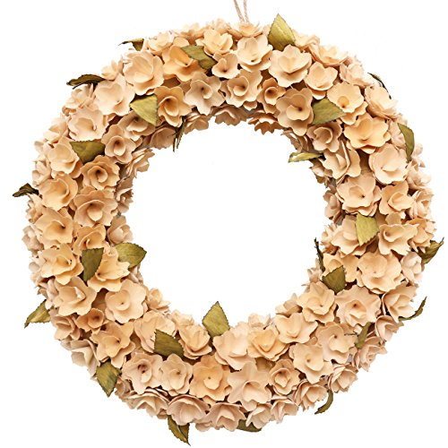 Boxwood Festival Wreath, Natural wood, Artificial All-season Wreath for the Front Door, Home Decor. 18 Inches, circle