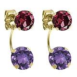 2.78 Ct Round Purple Amethyst Red Rhodolite Garnet 14K Yellow Gold Earrings