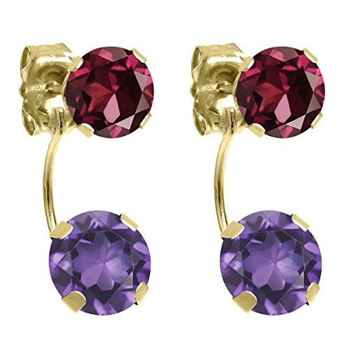Rhodolite Yellow Earrings - 2.78 Ct Round Purple Amethyst Red Rhodolite Garnet 14K Yellow Gold Earrings