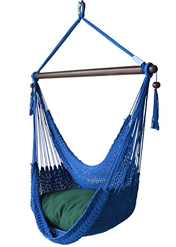 Caribbean Hammocks Chair with Footrest – 40 inch – Soft-Spun Polyester – (Dark Blue) For Sale