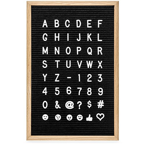 Felt Letter Board 12x18 Inch. Black Changeable Letter Board. 700 White Plastic Letters and Emojis: 1 and 3/4 Inch Letters. Includes 2 Cloth Bags (12