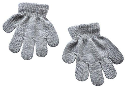 BaiX Toddler Boys and Girls Winter Knitted Writing Gloves, 1-3 Years Old, Light Grey
