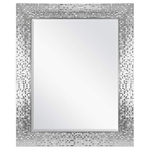Aromzen 23 x 28 Silver Mosaic Tile Mirror