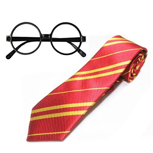 Huahuamini Striped School Tie Novelty Glasses Frame Costumes Accessories Halloween Christmas Cosplay Thanksgiving Gift (Yellow Red)]()