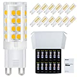 DiCUNO G9 LED Ceramic Base Light Bulbs, 4W (40W Halogen Equivalent), 400LM, Soft White (3000K), G9 Base, G9 Bulbs Non-Dimmable Home Lighting, 12-Pack