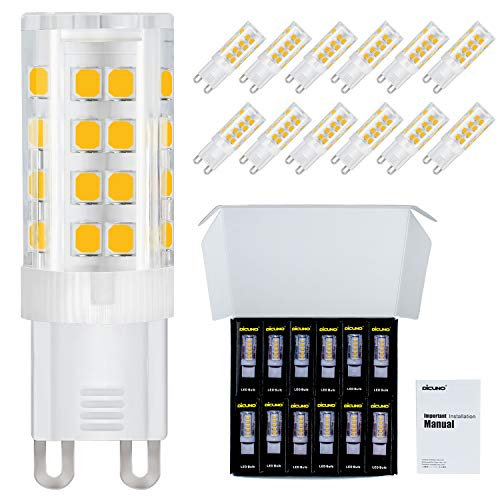 (DiCUNO G9 LED Ceramic Base Light Bulbs, 4W (40W Halogen Equivalent), 400LM, Soft White (3000K), G9 Base, G9 Bulbs Non-Dimmable for Home Lighting, 12-Pack)