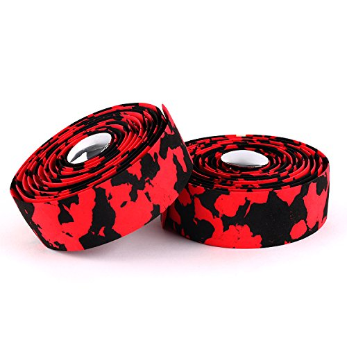 Bicycle Handlebar Tape - Vinqliq New Super Soft Cork Bike Bicycle Cycling Handlebar Tape Wraps with Bar Plugs (Red & Black)