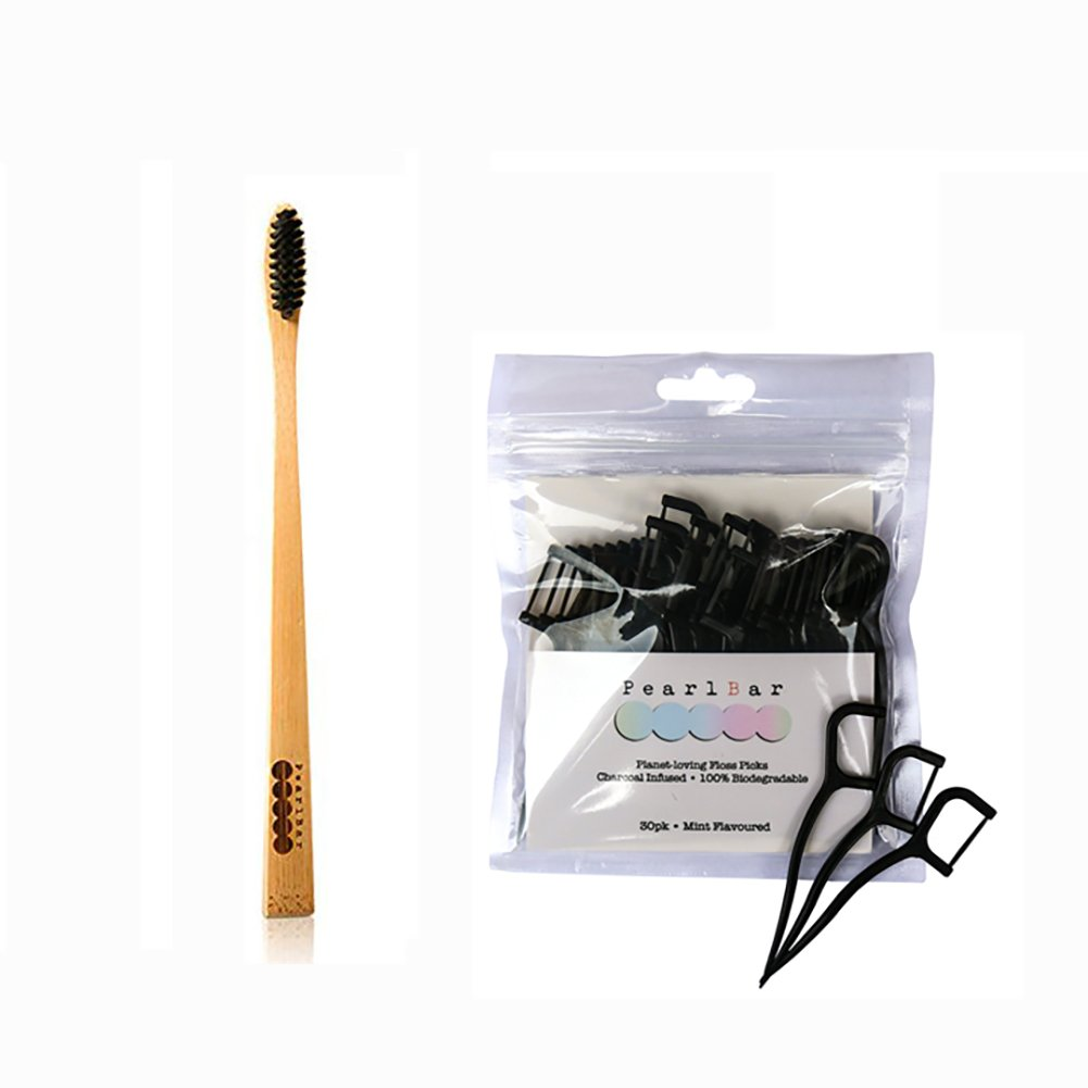 Pearlbar 100% Biodegradable Charcoal Oral Care, 1 Toothbrush + Pack of 30 Charcoal Floss Set