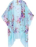 Women's Floral Kimono Cover Up - Lightweight Leopard Chiffon Beachwear for Bikini,Cardigan and Swimwear (One Size, Light Blue)