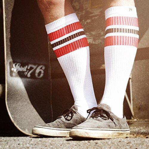 Calcetines altos retro de rayas Spirit of 76 Los white Whites rayas negras blancas calcetines unisex estilizados entubados