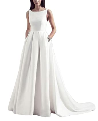 DreHouse Women\'s White Satin A-line Bridal Gowns Wedding Dresses ...