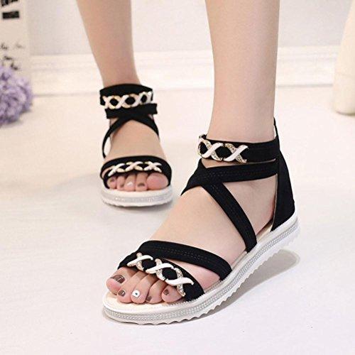 Ouneed ® Zapatos de mujer verano Bohemia sandalias cuero ocio trabajo playa Negro