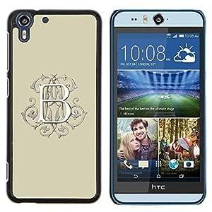 Dragon Case - FOR HTC Desire EYE M910x - b letter initial beige calligraphy white - Caja protectora de pl??stico duro de la cubierta Dise?¡Ào Slim Fit