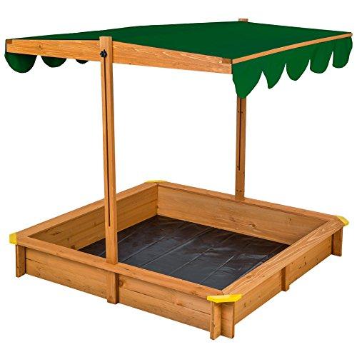 TecTake Arenero con techo regulable cajón de arena jardín ...