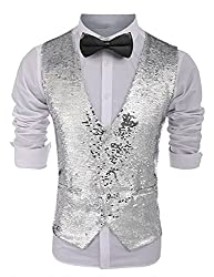 Men's Sequins V-Neck Tuxedo Waistcoat