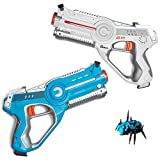 Play Platoon Laser Tag Guns for Kids with Target Bug and Carrying Case - Infrared Technology Phaser-X2 Lazer Gun 2 Pack Set Featuring Sound Effects, Lights, & Vibration