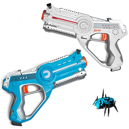 Play Platoon Laser Tag Guns for Kids with Target Bug and Carrying Case - Infrared Technology Phaser-X2 Lazer Gun 2 Pack Set Featuring Sound Effects, Lights, & Vibration -