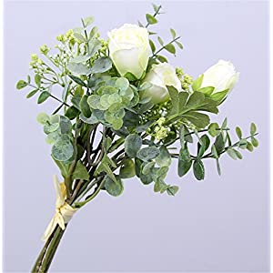 Skyseen Artificial Flowers Eucalyptus Leaf Babys Breath Gypsophila Rose Bouquets Wedding Party Home Decor,Pack of 3(White) 76