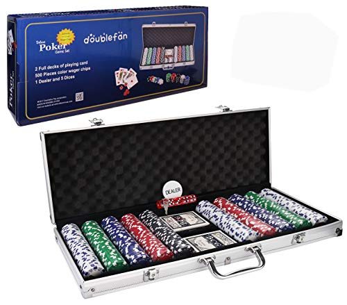Doublefan Poker Set, 500 PCS Clay Quality Poker Chips Blackjack Chips with Aluminum Case, Suit for 4-9 Players ()