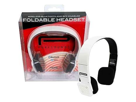 Inalámbrica Bluetooth auriculares con NFC – puresounds plegable inalámbrico Head teléfonos (blanco) con construido