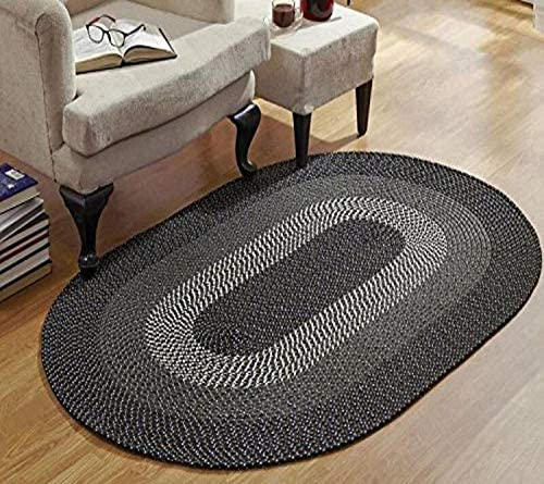 Better Trends Pan Overseas Country Stripe Braided Rug, 96 x 132, Black