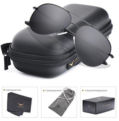 Aviator Sunglasses Mens Polarized Black Lens Black Metal Frame Dark 60mm with Case - UV400