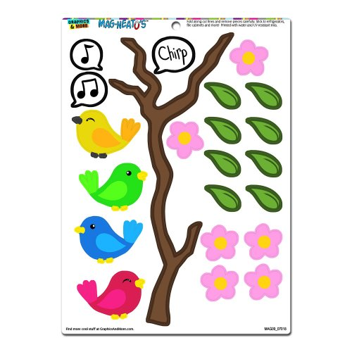 Graphics and More 'Birds on a Branch' MAG-NEATO'S Novelty Gift Locker Refrigerator Vinyl Magnet (Bird Magnet Set)