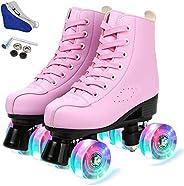 LEAFIS Women's Roller Skates Classic Leather High Top Double Row Skates Four-Wheel Shiny Roller Skates Per