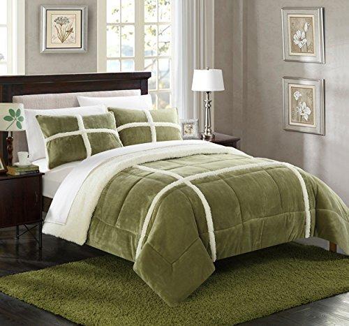 Chic Home 3 Piece Chloe Mink Sherpa Lined Comforter Set, Queen,