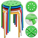 Yaheetech 17.3'' Plastic Stack Stools Portable Stackable Bar Stools School Classroom Chairs (Pack of 5)