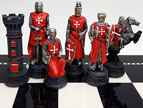 (Medieval Times Crusades Knight RED & BLUE Set of Chess Men Pieces Hand)