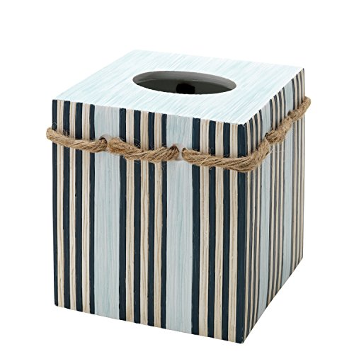 Zenna Home, India Ink Seaside Serenity Tissue Box Cover, Coastal/Beach (Theme Beach Tissue Box Cover)