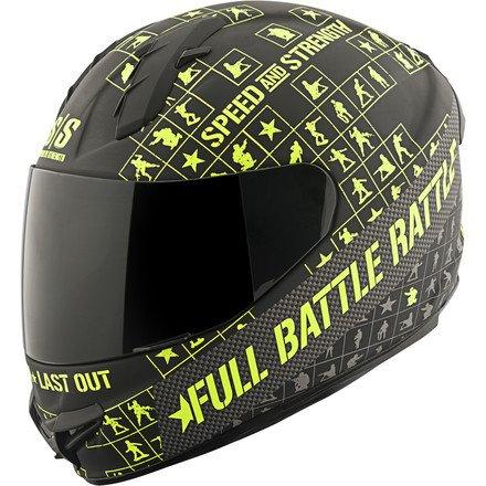 Speed and Strength Full Battle Rattle Men's SS1400 Sports Bike Motorcycle Helmet - Matte Black/Hi-Vis / Small